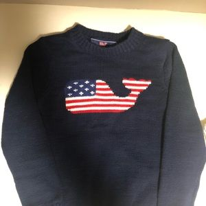Vineyard vines American flag whale sweater size 4T